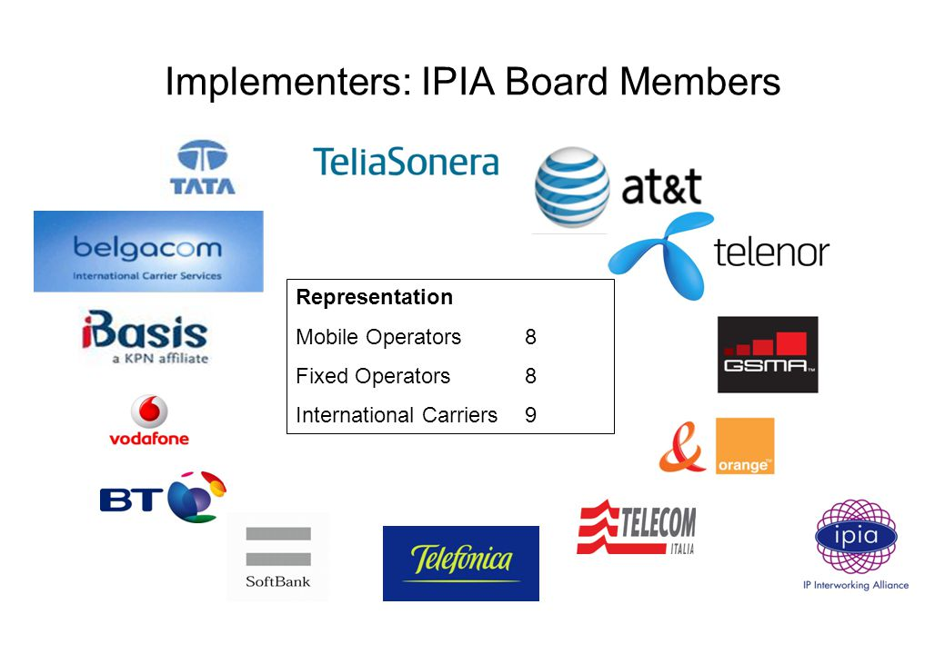 Implementers: IPIA Board Members