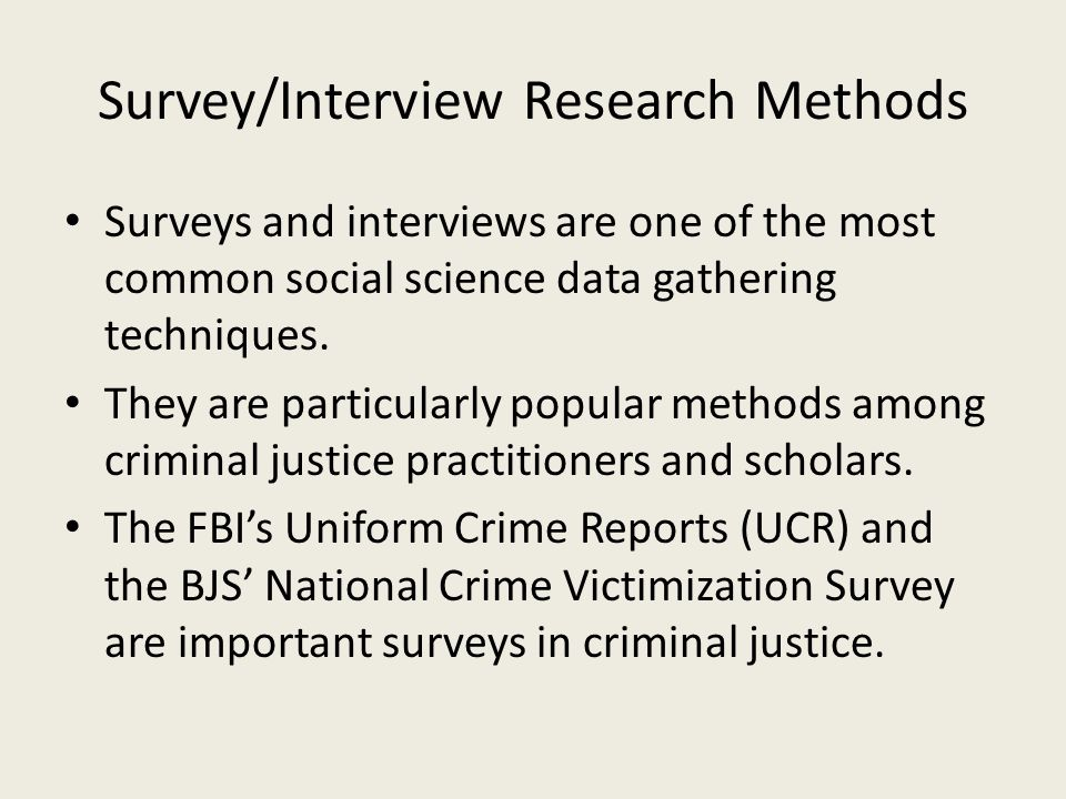 Survey/Interview Research Methods