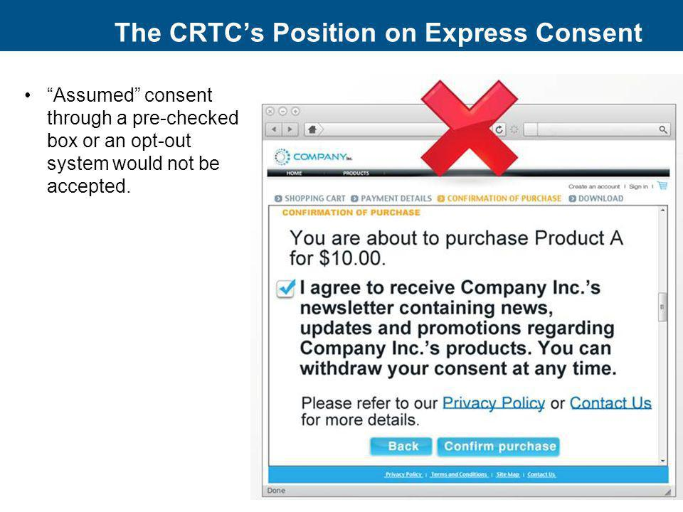 The CRTC's Position on Express Consent