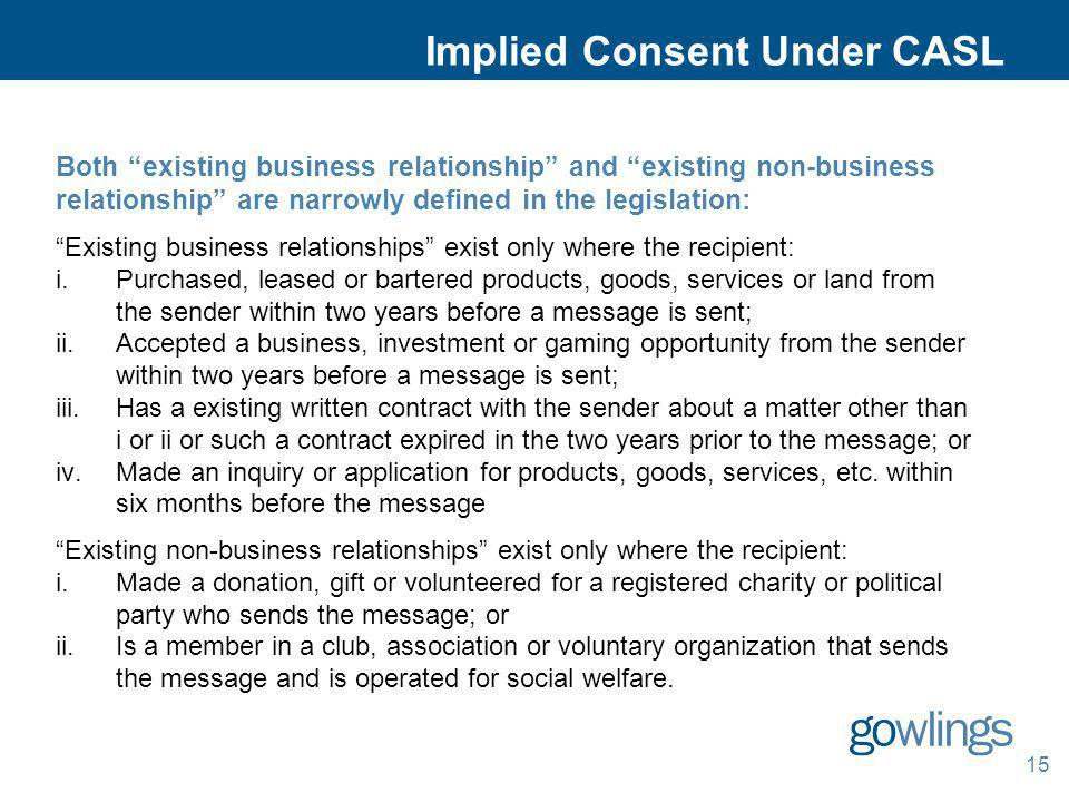 Implied Consent Under CASL