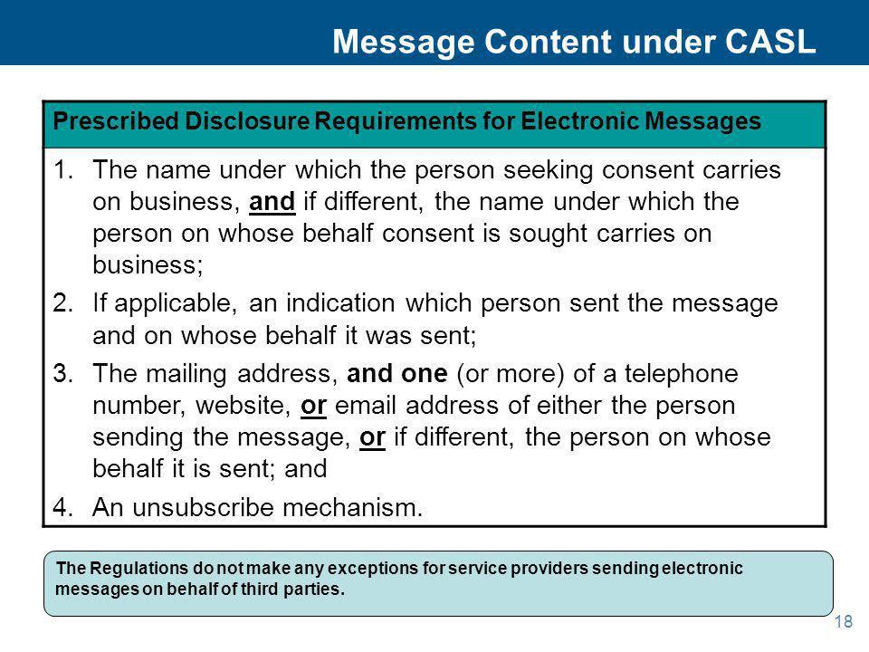 Message Content under CASL