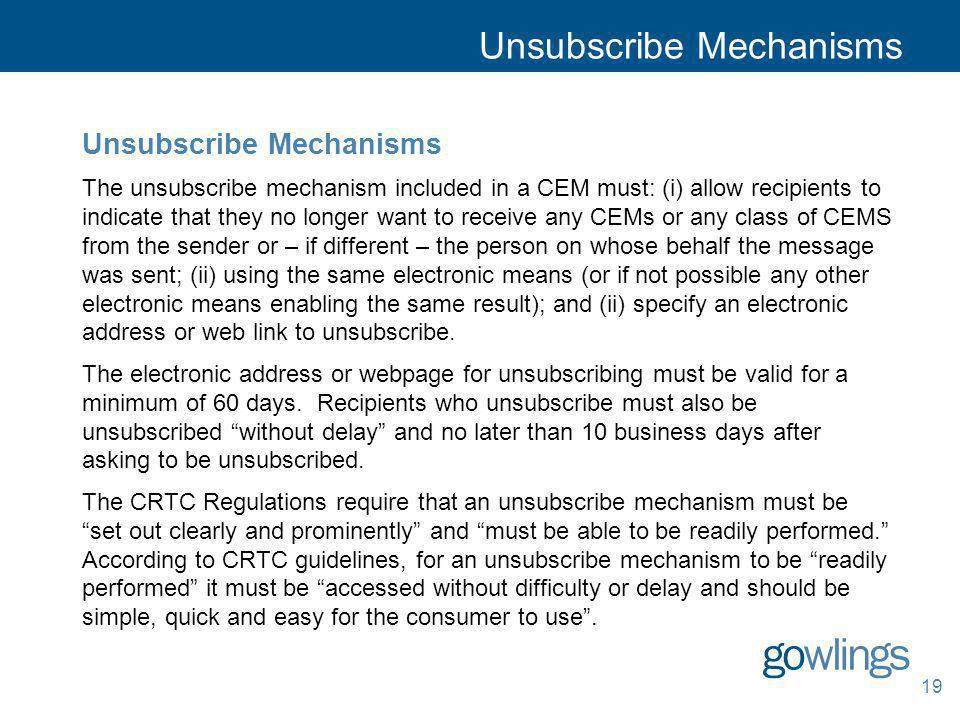 Unsubscribe Mechanisms