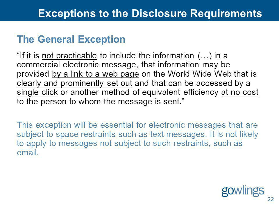 Exceptions to the Disclosure Requirements