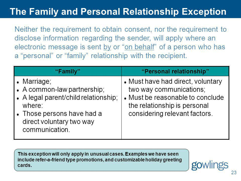 The Family and Personal Relationship Exception