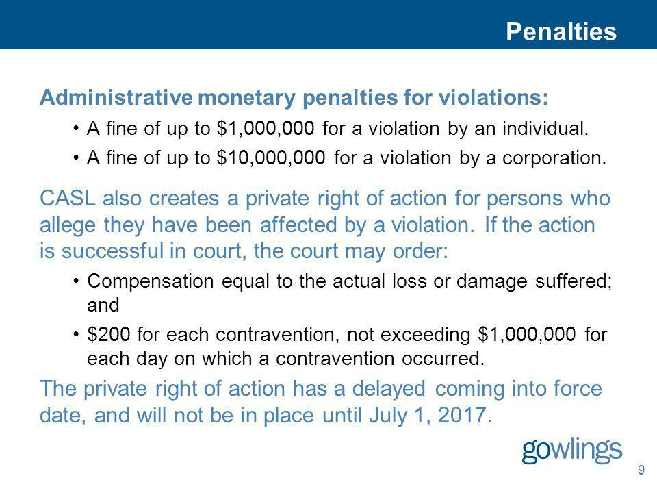 Penalties Administrative monetary penalties for violations: