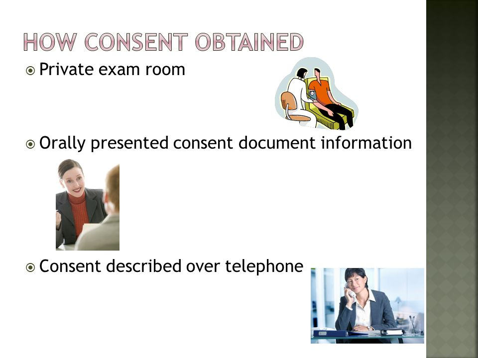 How consent obtained Private exam room