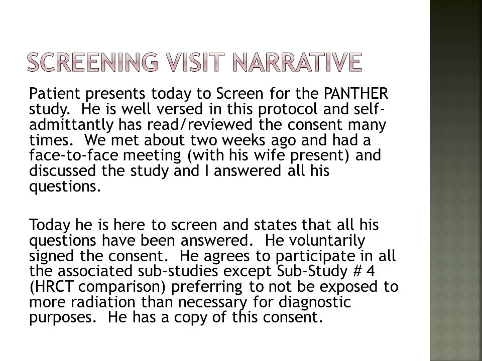 Screening Visit Narrative
