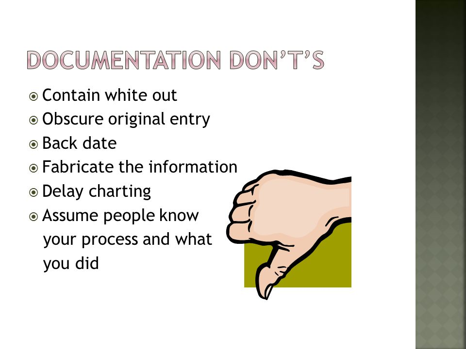 Documentation Don't's