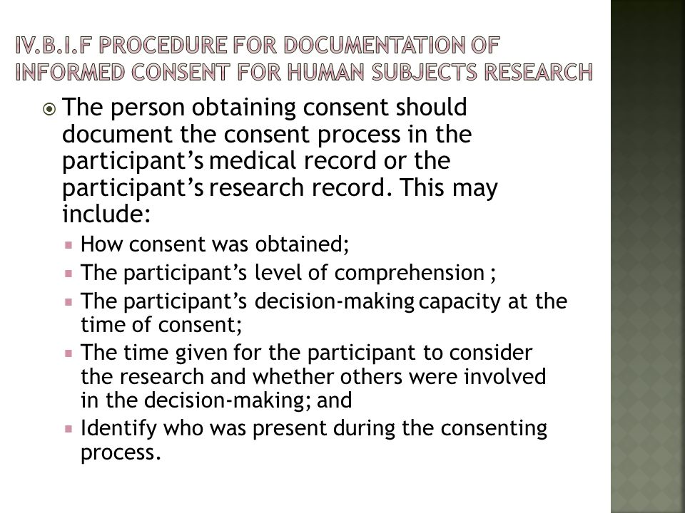 IV.b.I.F Procedure for Documentation of Informed Consent for Human Subjects Research