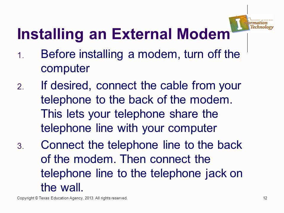 Installing an External Modem