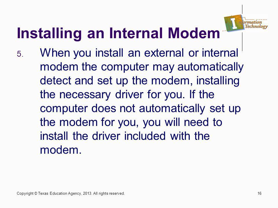 Installing an Internal Modem