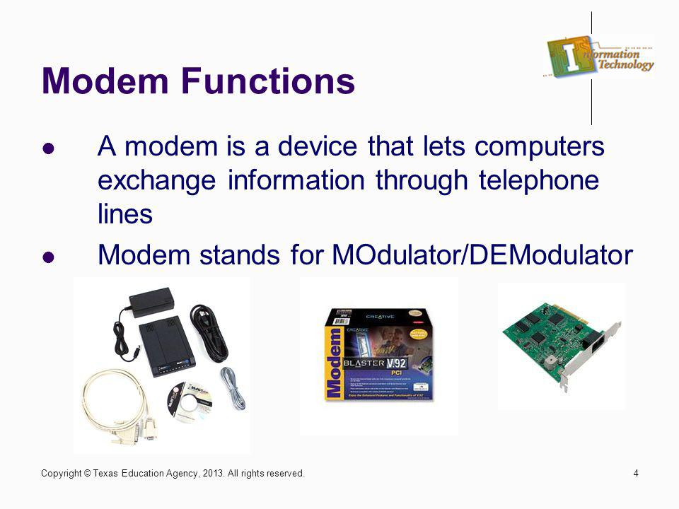 Modem Functions A modem is a device that lets computers exchange information through telephone lines.