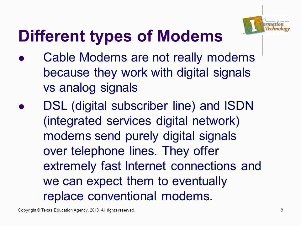 Different types of Modems
