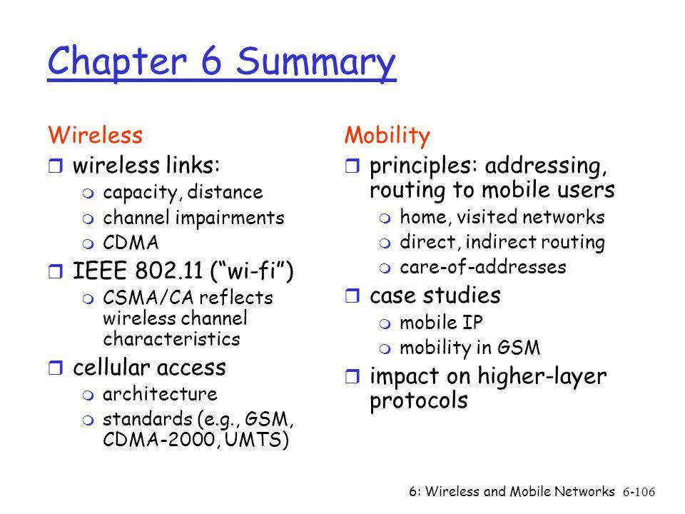 Chapter 6 Summary Wireless wireless links: IEEE 802.11 ( wi-fi )