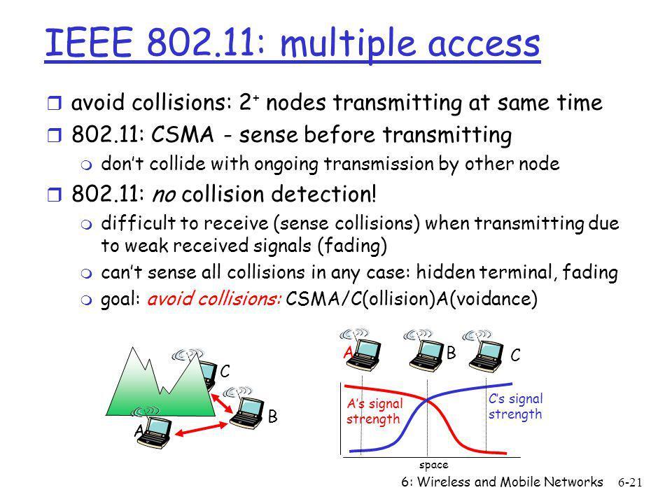 IEEE 802.11: multiple access avoid collisions: 2+ nodes transmitting at same time. 802.11: CSMA - sense before transmitting.