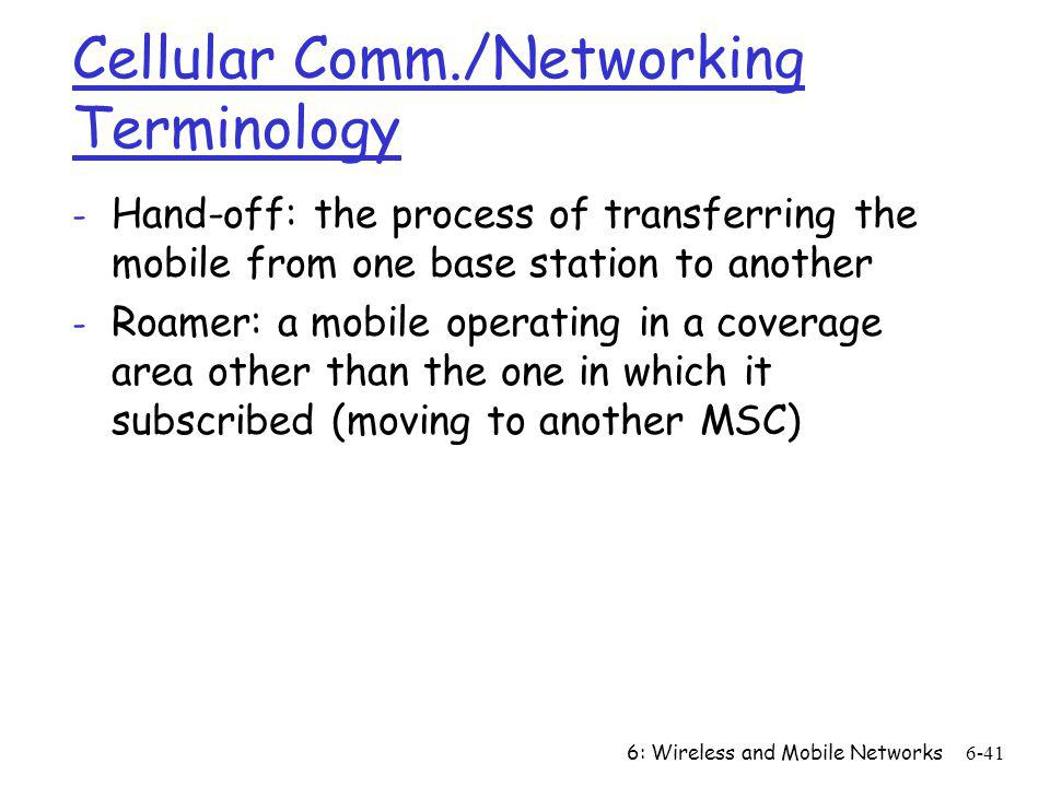 Cellular Comm./Networking Terminology