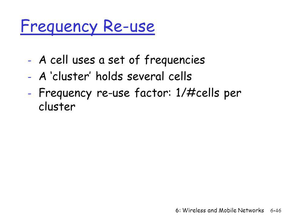 Frequency Re-use A cell uses a set of frequencies