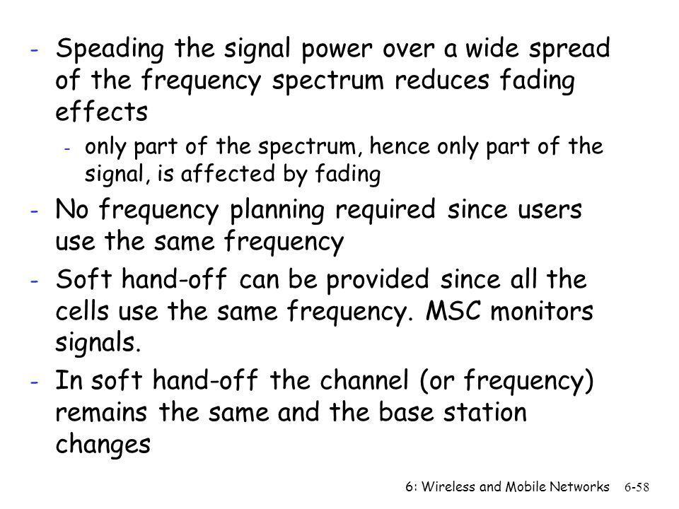 No frequency planning required since users use the same frequency
