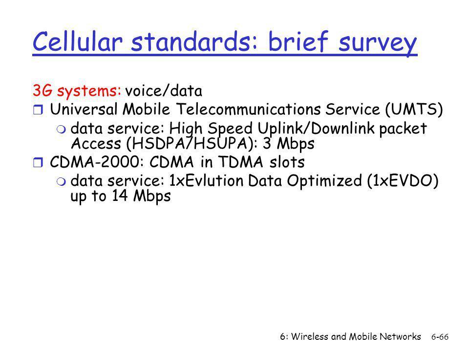 Cellular standards: brief survey