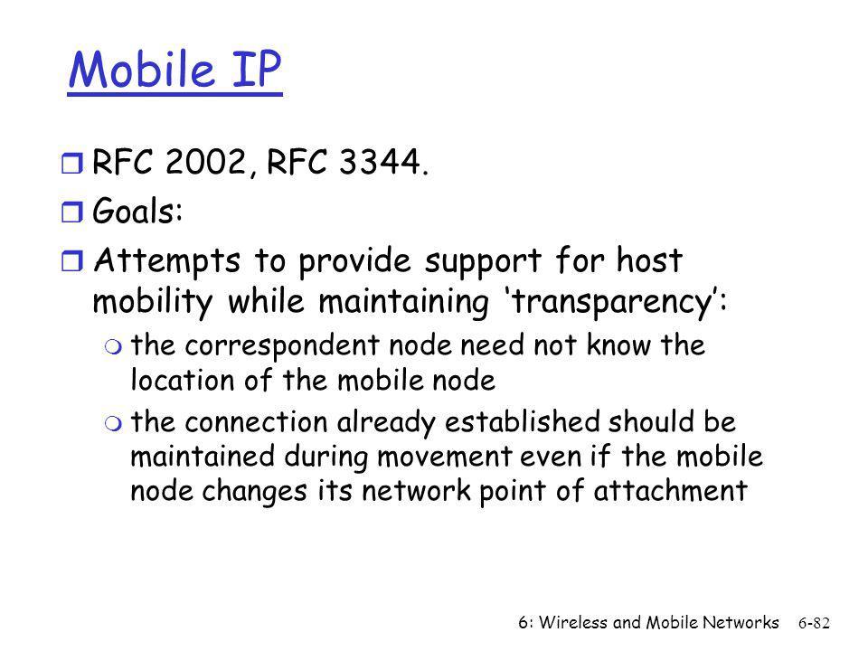Mobile IP RFC 2002, RFC 3344. Goals: