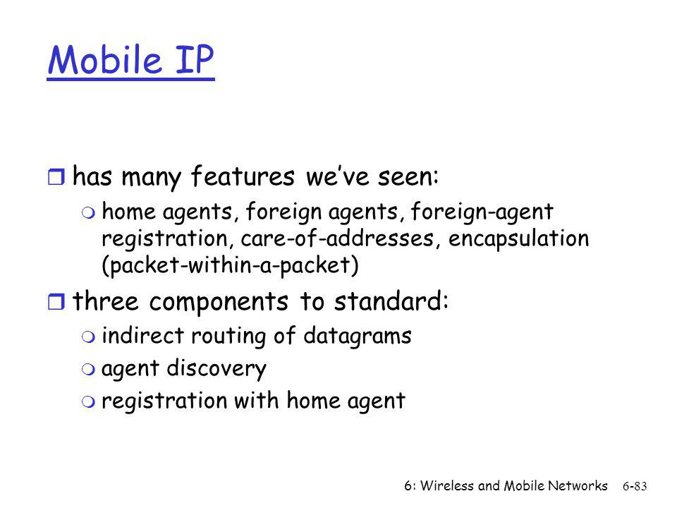 Mobile IP has many features we've seen: three components to standard: