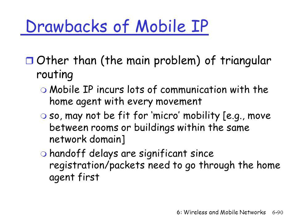 Drawbacks of Mobile IP Other than (the main problem) of triangular routing.