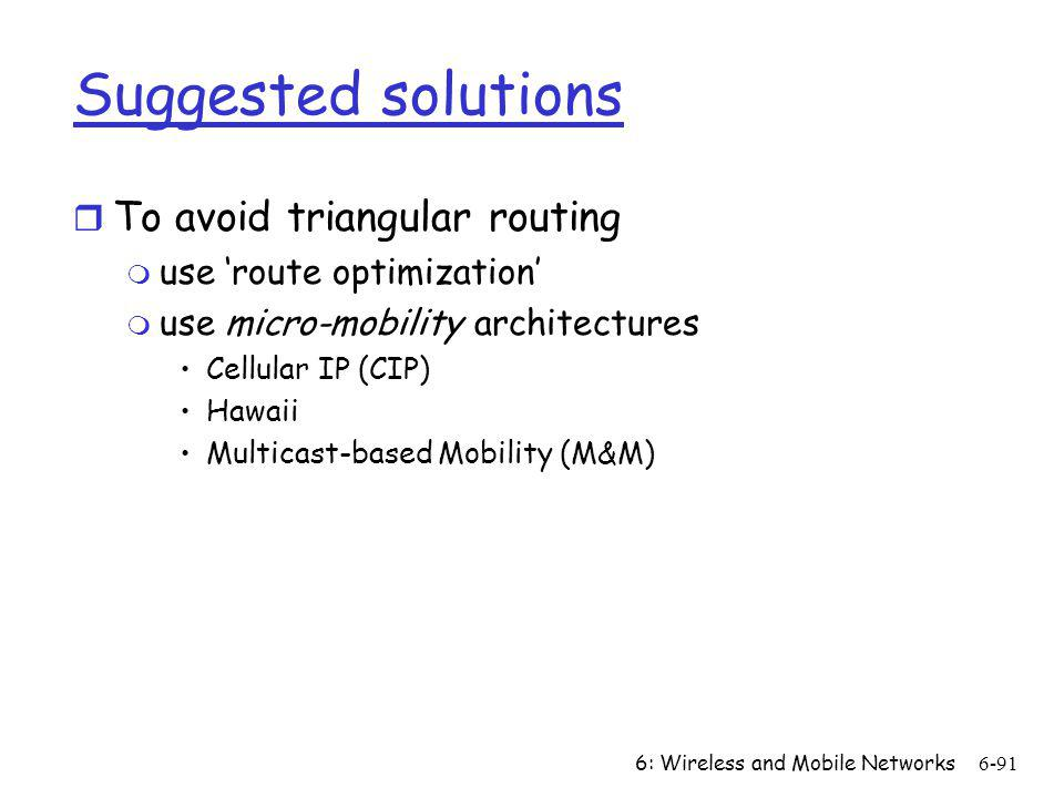 Suggested solutions To avoid triangular routing