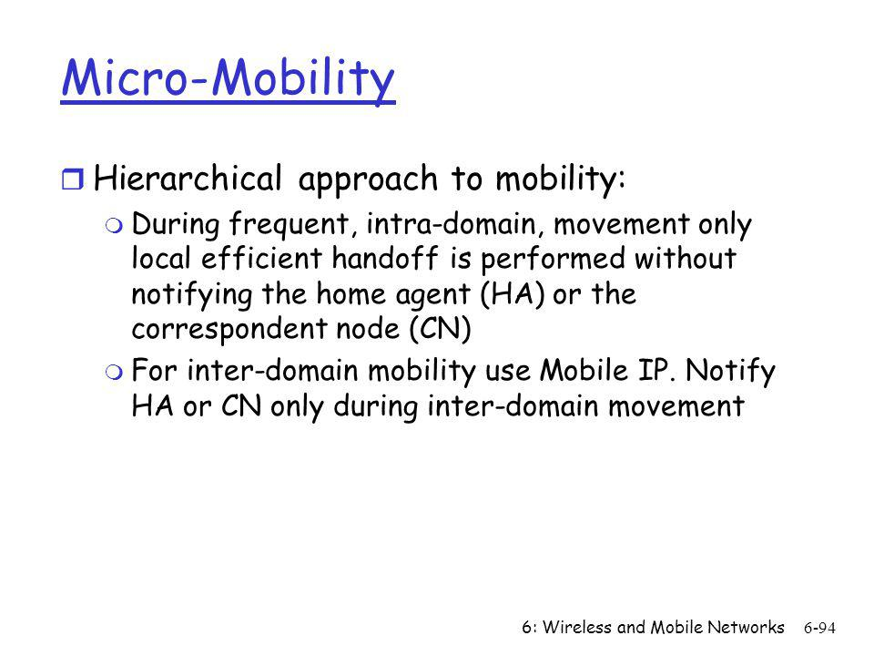 Micro-Mobility Hierarchical approach to mobility: