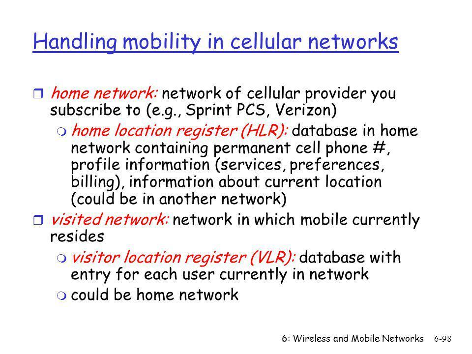 Handling mobility in cellular networks