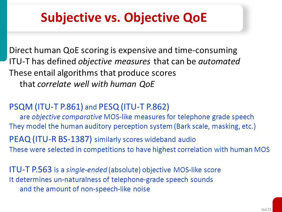Subjective vs. Objective QoE