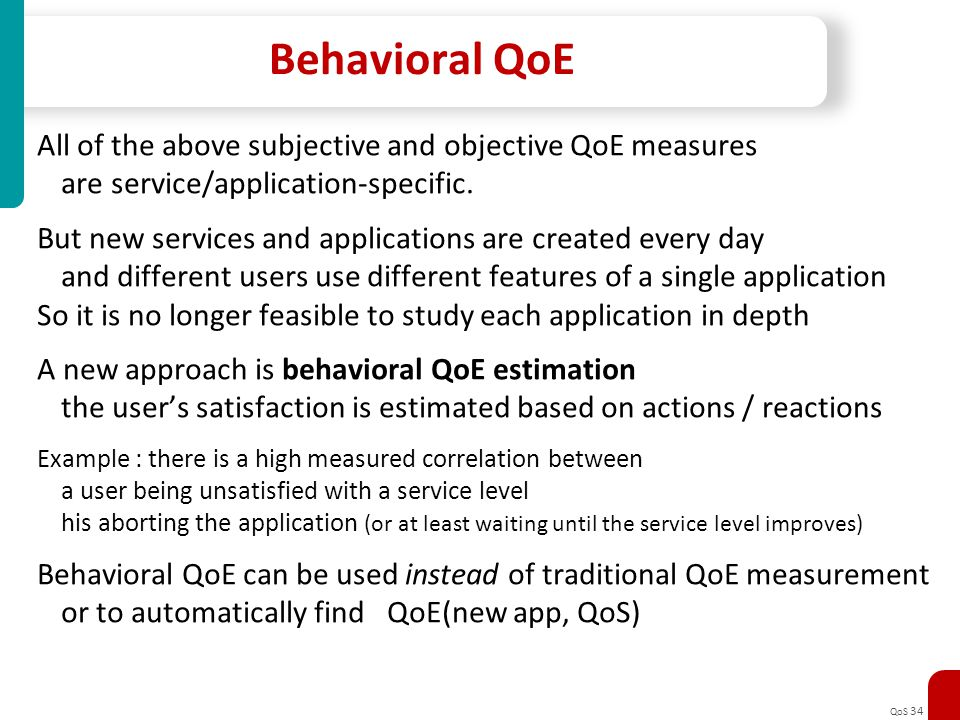 Behavioral QoE All of the above subjective and objective QoE measures
