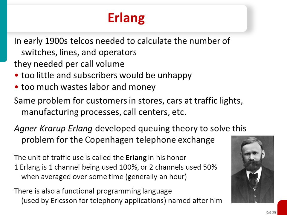 Erlang In early 1900s telcos needed to calculate the number of
