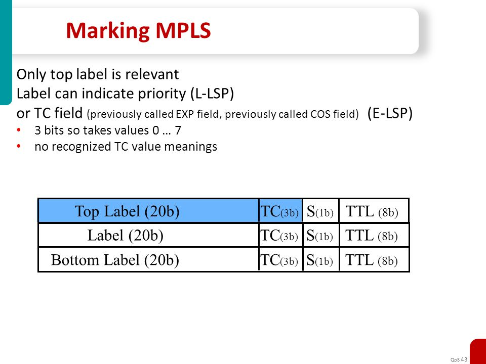 Marking MPLS Only top label is relevant