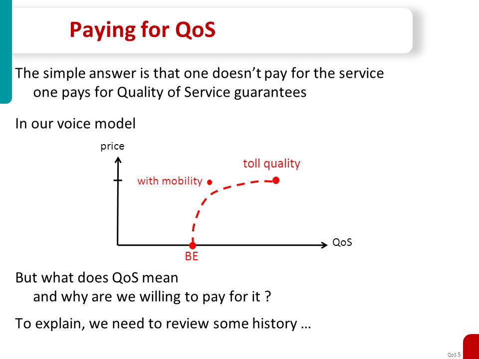 Paying for QoS The simple answer is that one doesn't pay for the service. one pays for Quality of Service guarantees.