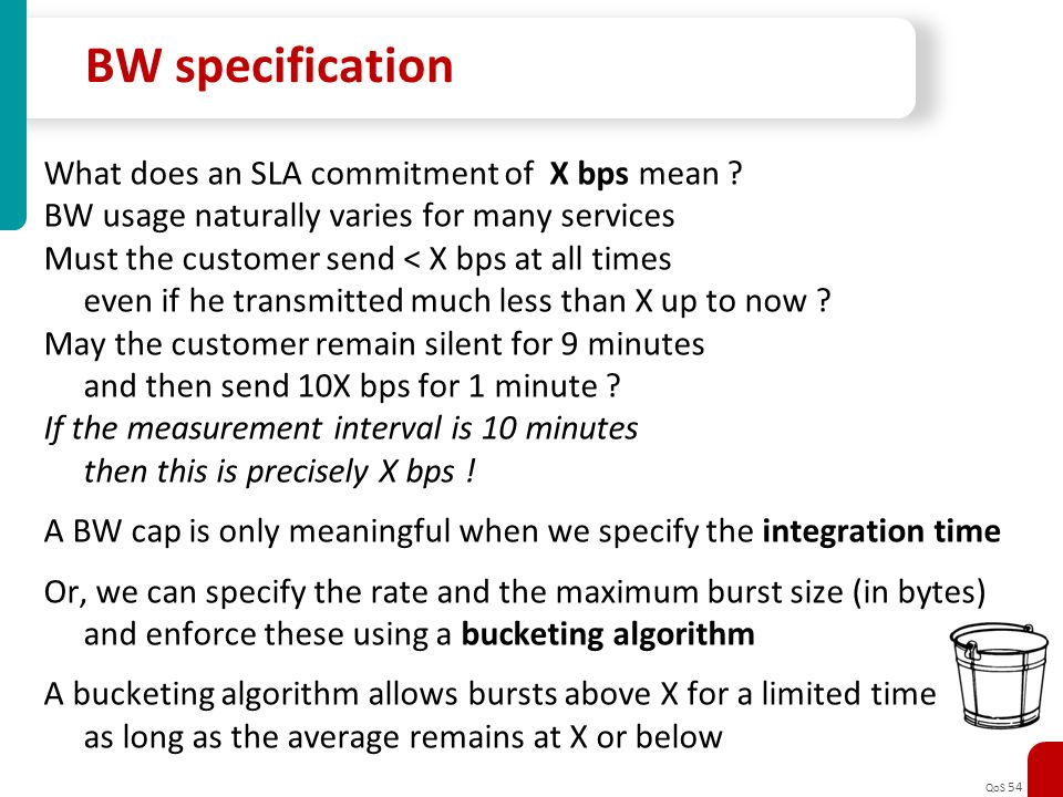 BW specification What does an SLA commitment of X bps mean