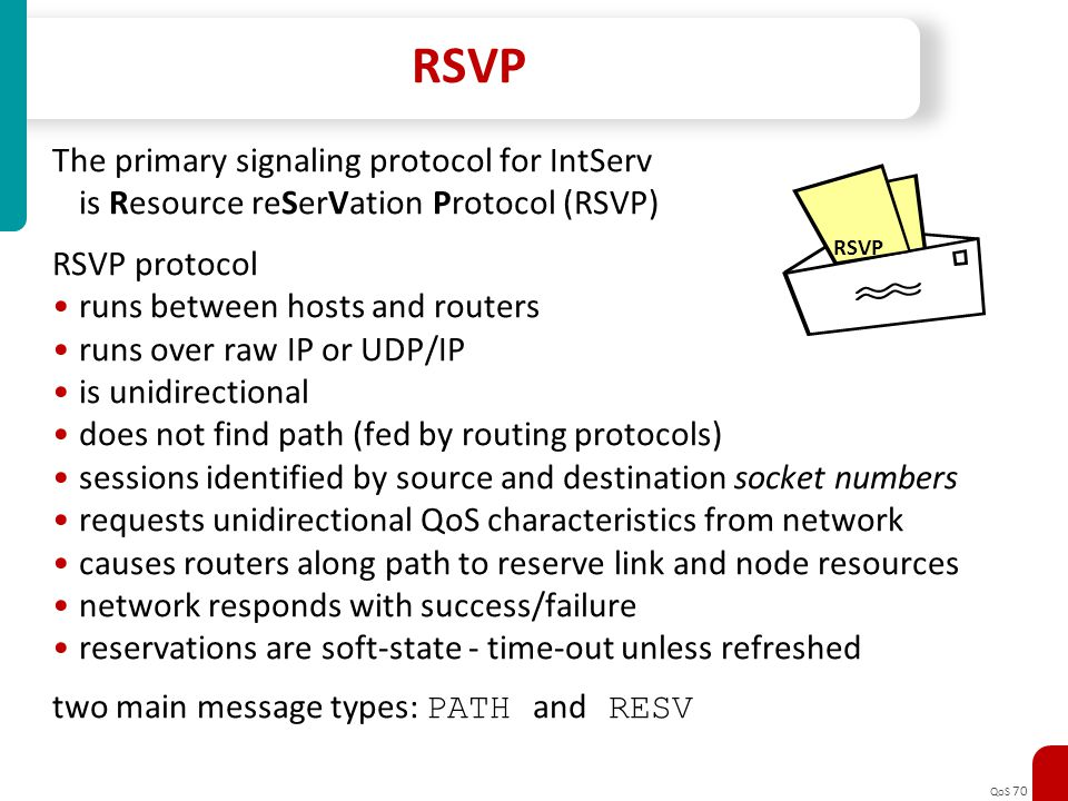 RSVP The primary signaling protocol for IntServ