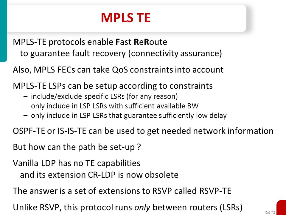 MPLS TE MPLS-TE protocols enable Fast ReRoute