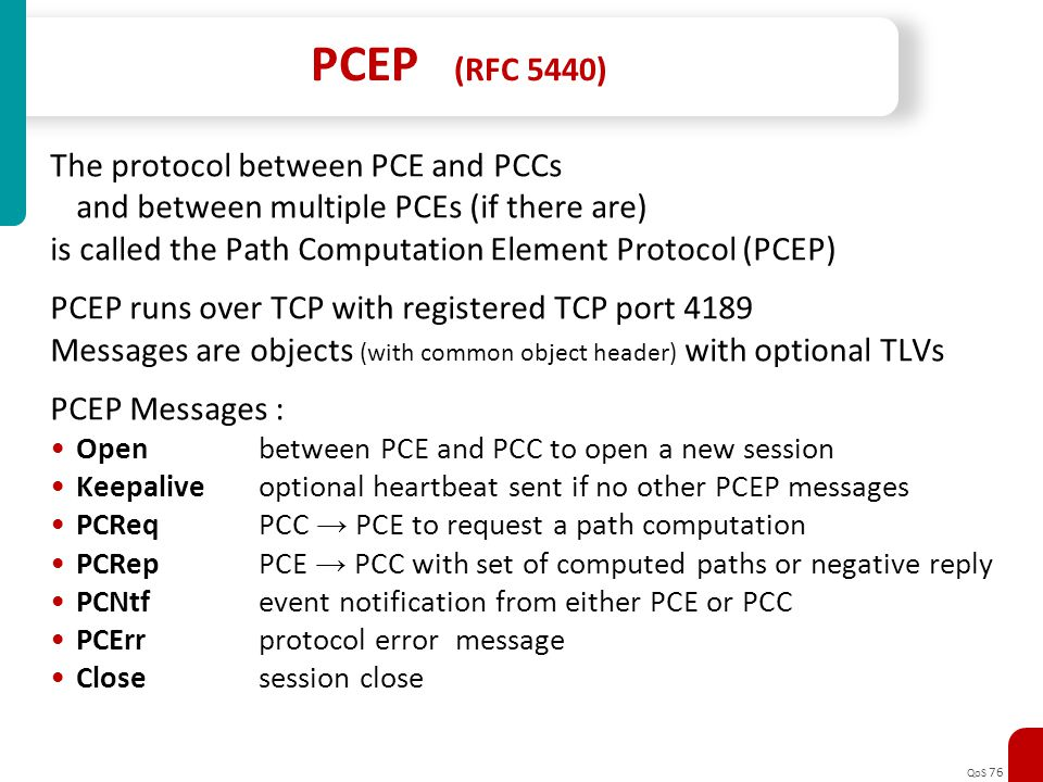 PCEP (RFC 5440) The protocol between PCE and PCCs