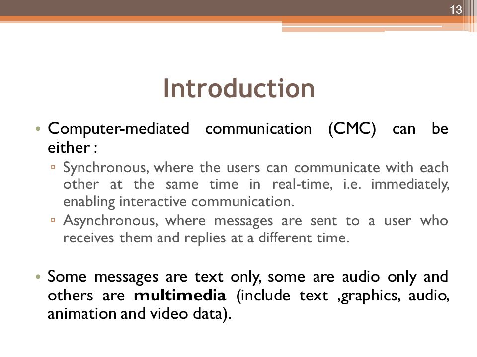 Introduction Computer-mediated communication (CMC) can be either :