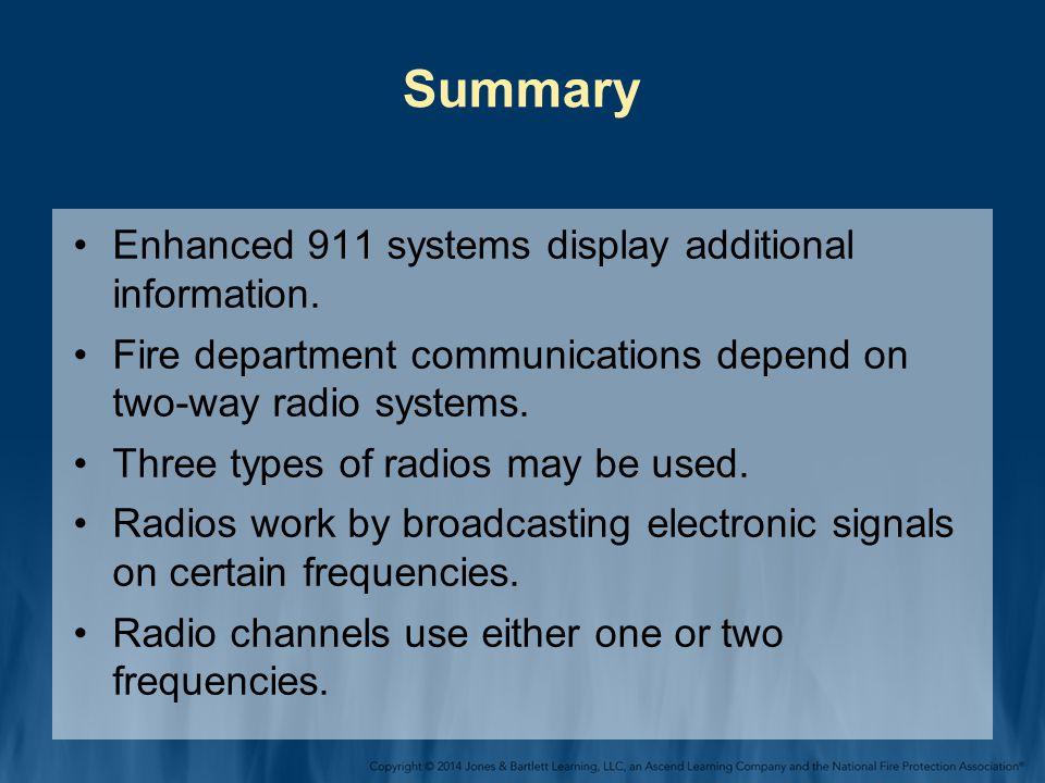 Summary Enhanced 911 systems display additional information.