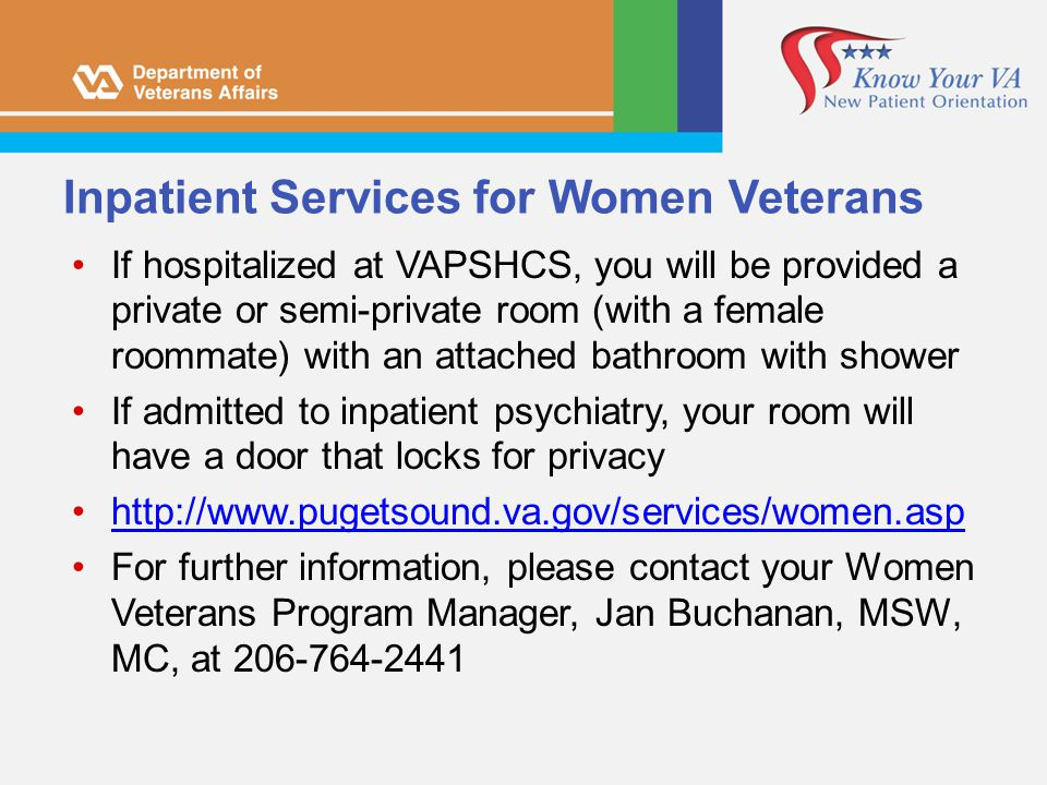 Inpatient Services for Women Veterans