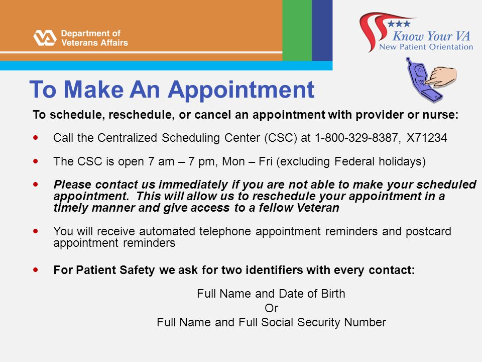 To Make An Appointment To schedule, reschedule, or cancel an appointment with provider or nurse: