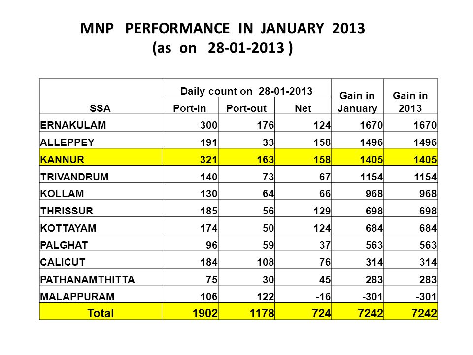 MNP PERFORMANCE IN JANUARY 2013 (as on 28-01-2013 )