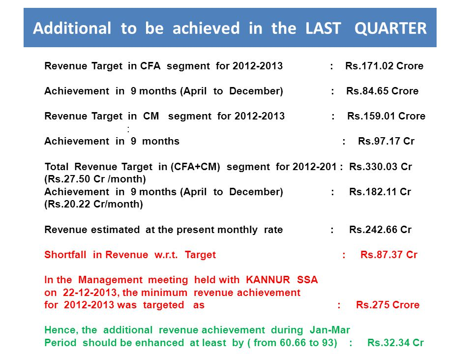 Additional to be achieved in the LAST QUARTER