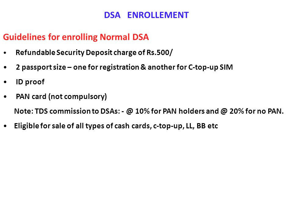 Guidelines for enrolling Normal DSA