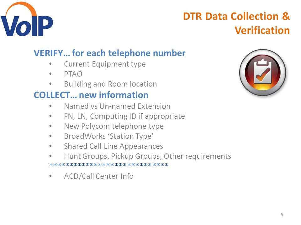 DTR Data Collection & Verification