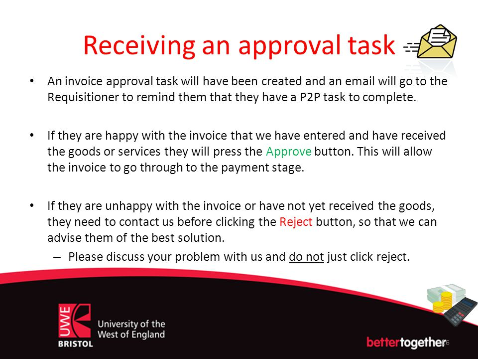 Receiving an approval task