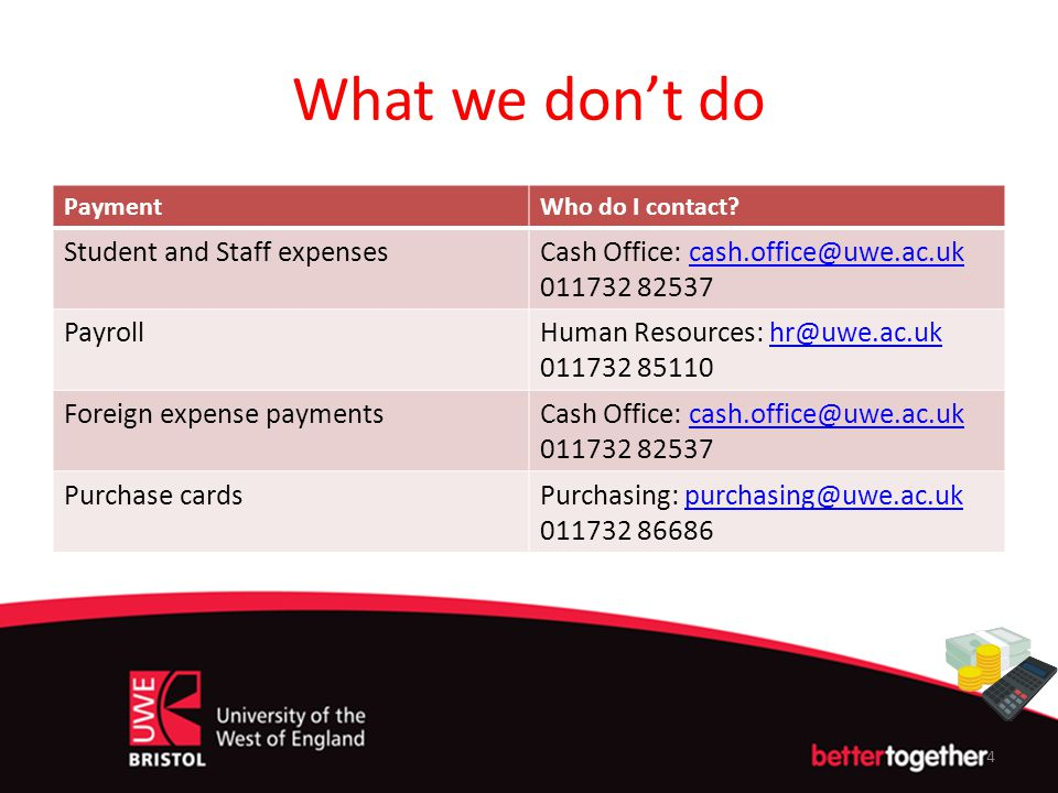 What we don't do Student and Staff expenses