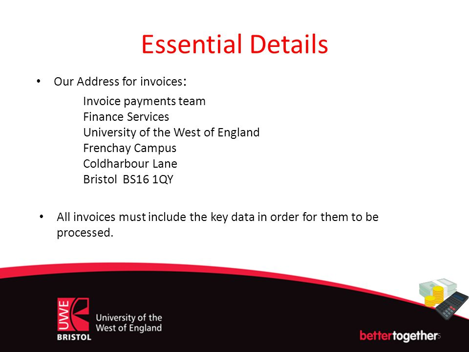 Essential Details Our Address for invoices: