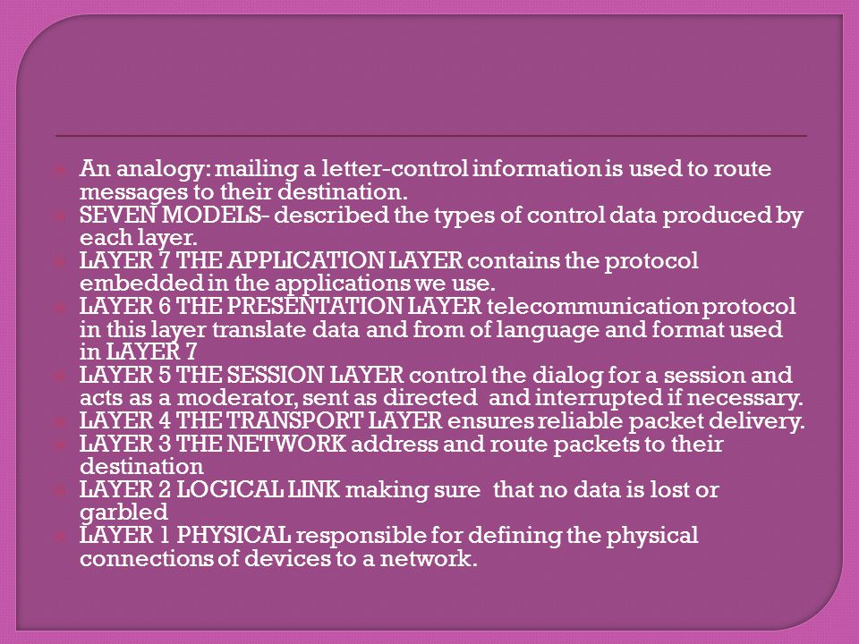 An analogy: mailing a letter-control information is used to route messages to their destination.